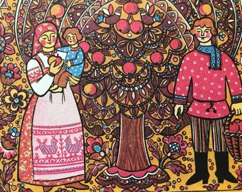 1991 Russian Folk Illustration Original Vintage Print - Mounted and Matted - Available Framed - Russia - Folk Tale - Vintage Wall Decor