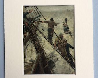 1891 Ashore by F. Brangwyn Original Antique Lithograph - Sailing Ship - Marine Decor - Fisherman - Fishing - Available Framed
