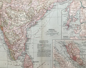 1903 India (Southern part) Original Large Antique Map with inset maps of Bombay and Vicinity & the Strait Settlements of the Malay Peninsula