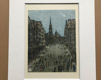 1948 Edinburgh - High Street Original Vintage Chiang Yee Illustration - Mounted and matted - Available Framed