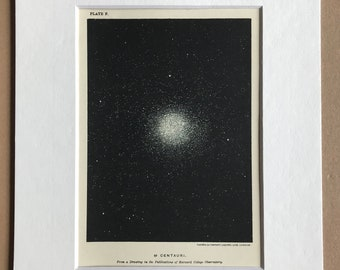 1913 Centauri from a drawing by Harvard College University Original Antique Print - Astronomy - Star - Mounted and Matted - Available Framed
