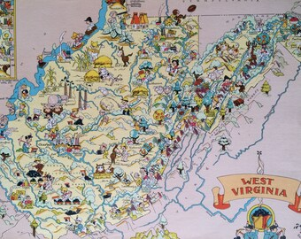 1935 West Virginia Original Vintage Cartoon Map - Ruth Taylor - Mounted and Matted - Whimsical Map - United States