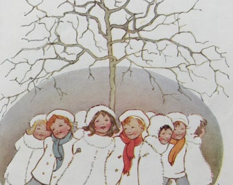 1917 Here we go round the Mulberry Bush Original Vintage Margaret W. Tarrant Illustration - Matted and Available Framed - Nursery Rhyme