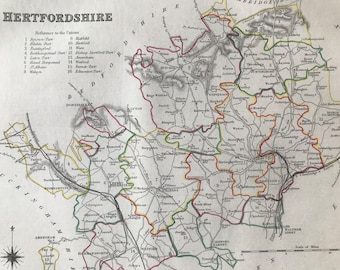 1845 Hertfordshire Original Antique Hand-Coloured Engraved Map - UK County Map - Available Framed - Cartography - Wall Decor - England
