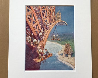 1940s How the Bridge Builder Conquers Space Original Vintage Print - Engineering - Architecture - Mounted and Matted - Available Framed