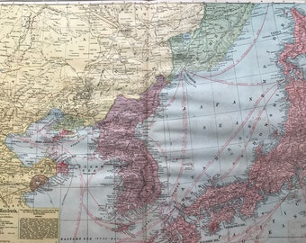 1907 Korea, Lower Manchuria with adjacent portions of China, Japan and Siberia Large Original Antique Map showing international neutral zoes