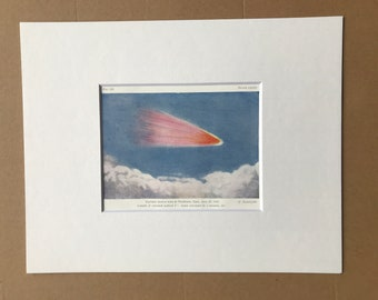 1914 Daylight Meteor seen at Penshurst, Kent - June 20, 1866 Original Antique Print - Astronomy - Available Framed