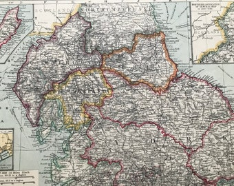 1903 Northern England Original Antique Map with inset maps of Barrow, The Isle of Man and Tynemouth - showing Railways, Steamer Routes
