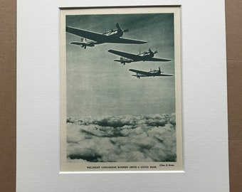 1940 Wellesley Long-range Bombers Original Vintage Print - Mounted and Matted - Aircraft - Airplane - R.A.F. - Available Framed
