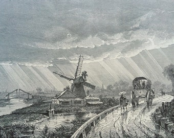 1895 Scenery near Middleburg, Holland Original Antique Engraving - Netherlands - Windmill - Mounted and Matted - Available Framed