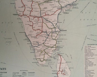 1908 Railways and Inland Navigation (South India) Original Antique Map showing projected railways and canals - Sri Lanka - Madras - Bombay