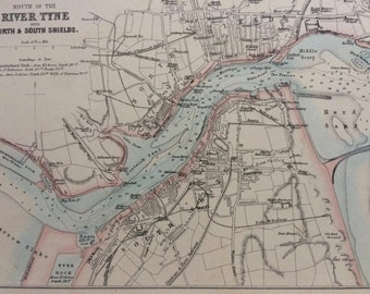 1870 Mouth of the River Tyne with North & South Shields Original Antique Map - Available Mounted and Matted - Tyneside - Wall Decor -