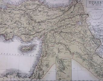 1859 TURKEY in ASIA large rare original antique A & C Black Map with inset map of the ruins of Babylon - Middle East - Syria - Iraq