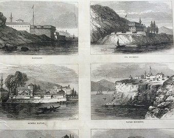 1877 The Fortresses of the Bosphorus Original Antique Engraving, Illustrated London News,  Victorian Art, Wall Decor, Home Decor