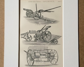 1891 Agricultural Implements Original Antique Encyclopaedia Illustration - Farming Equipment - Available Mounted, Matted and Framed