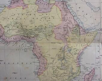 1873 AFRICA original antique map, 10.25 x 13.25 inches