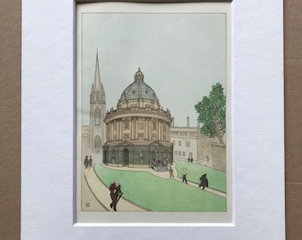 1948 Oxford - Ancient and Modern in Camera Square Original Vintage Chiang Yee Illustration - Mounted and matted - Available Framed
