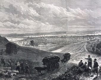 1877 Russo-Turkish War - Town and Fortresses of Rustchuk Original Antique Engraving, Illustrated London News, 19th Century History