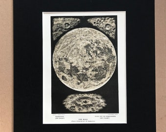 1880 The Moon and Lunar Craters Original Antique Lithograph - Astronomy - matted and available framed - Vintage Wall Decor