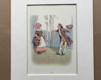 1917 Where are you going to, my pretty maid Original Vintage Margaret W. Tarrant Illustration - Matted and Available Framed - Nursery Rhyme