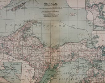 1903 North Michigan Original Antique Map with Inset map of St Mary's River, MI, US State Map, United States, Vintage Wall Decor, USA