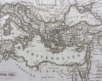 1822 Empire Grec Original Antique Engraved Ancient History Map - Fine Detail - Greece - Mounted and Matted - Greek Empire - Greece - Framed