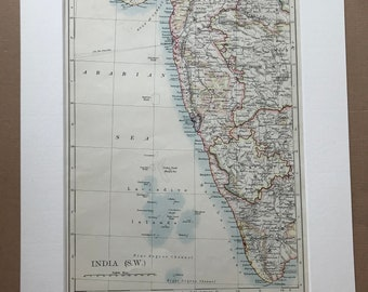1906 India (South-West) Original Antique Map - Mounted and Matted - Available Framed - Bombay - Mumbai - Mysore