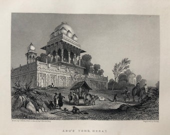 1871 Abu's Tomb, Merat Original Antique Steel Engraving - Meerut - Mughal Architecture - India - Mounted and Matted - Available Framed