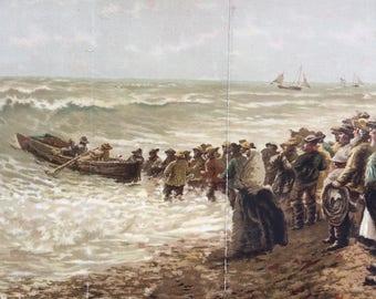 1895 Though Storms be Sudden by Own Dalziel Large Original Antique Lithograph - Wall Decor - Vintage Decor - Victorian Art - Marine Decor