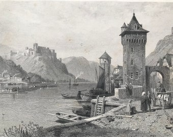 1876 St Goar Original Antique Steel Engraving - Mounted and Matted - Sankt Goar Rhineland - Germany - Available Framed