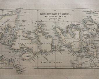 1871 Wellington Channel, Melville Island & Co Original Antique Map - Cartography - Unusual Map - Canada - Canadian Arctic Archipelago