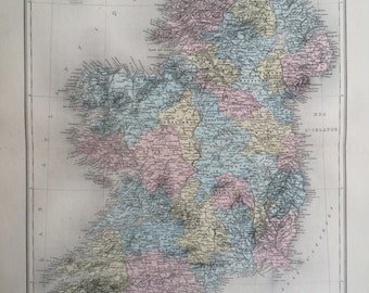 1892 IRELAND original antique map, Nouvel Atlas Illustre, French atlas map, Geography, Cartography, Historical Map