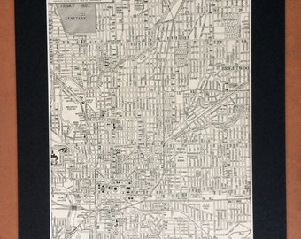 1937 INDIANAPOLIS (Central) Original Vintage City Plan Map, 11 x 14 inches, Rand McNally, Home Decor, Cartography, Geography