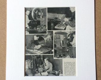 1940s How Money is made at the mint Original Vintage Print - Mounted and Matted - Coin - Currency - Available Framed