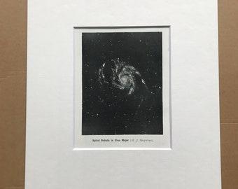 1914 Spiral Nebula in Ursa Major Original Antique Print - Astronomy - Available Framed