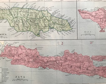 1875 Jamaica, Java and Bali Original Antique Map - Indonesia Map - Decorative Wall Art - Cartography - Available Matted and Framed