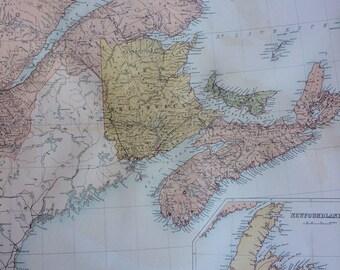 1859 Canada - New Brunswick, Nova Scotia extra large rare original antique A & C Black Map with inset map of Newfoundland