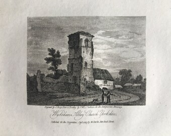 1816 Wykeham Abbey Church, Yorkshire Small Original Antique Engraving - Architecture - Yorkshire - Mounted and Matted - Available Framed