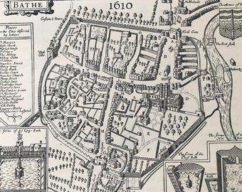 1883 Map of Bath in 1610 Original Antique Print - City Plan - Somerset - Mounted and Matted - Available Framed