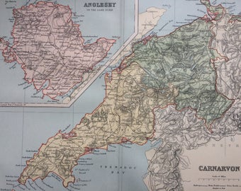 1895 CARNARVON & ANGLESEY original antique map, Welsh county map, cartography, gift idea, Wales - Available Framed - Framed Map