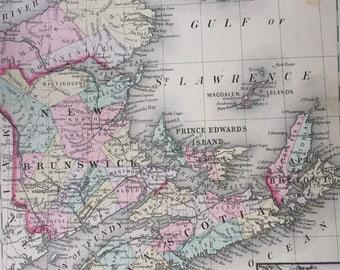 1888 Canada - New Brunswick, Nova Scotia large rare original antique Mitchell Map - Anticosti Island - Halifax - Wall Decor - Home Decor
