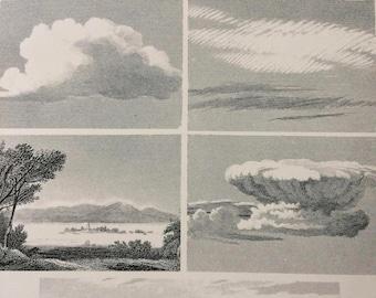 1891 Clouds Original Antique Encyclopaedia Illustration - wall decor - home decor - Meteorology - Nephology - Weather - Nimbus - Stratus