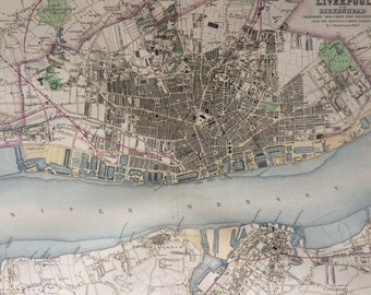 1871 Plan of the Town & Borough of Liverpool with Birkenhead Original Antique Map - City Plan - Tranmere - Seacombe - New Brighton