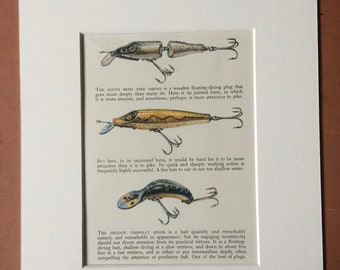 1958 Plug Baits Original Vintage Print - Mounted and Matted - Angling - Fishing - Cabin Decor - Available Framed