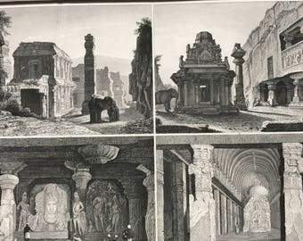 1849 Ancient Asian Civilisations Large Original Antique Print - Mounted and Matted - Available Framed - Shrine - Ruins - Temple