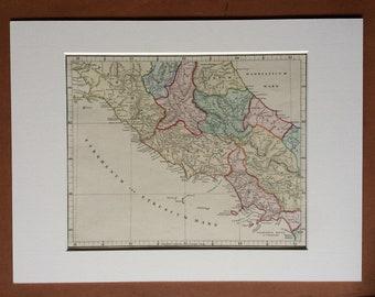 1865 ITALIA MEDIA (Central Italy) Original Antique Hand-Coloured Ancient History Map - Italy - Classics - Classical Civilisations - Rome