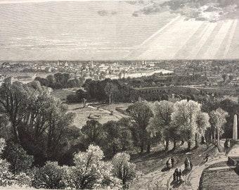 1874 Rochester, from Mount Hope Cemetery, New York Original Antique Wood Engraving - Mounted and Matted - Landscape - United States