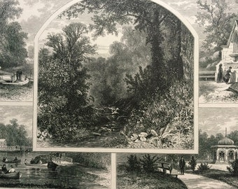 1874 Druid Hill Park, Baltimore Original Antique Wood Engraving - Mounted and Matted - Maryland - Landscape - United States