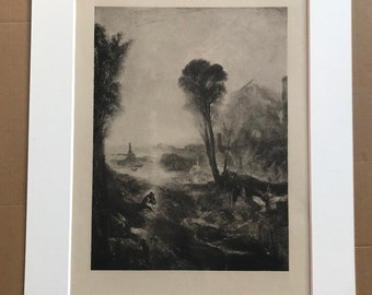 1902 Venice Mounted and Matted William Turner Academy by Turner Original Antique Photogravure Available Framed