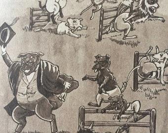1943 Original Vintage Dog Cartoon - Whimsical Wall Art - Funny Humorous Print - Dog Lover Gift - Puppy illustration - Decorative Art